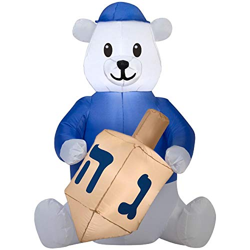 Gemmy Airblown Inflatable Hanukkah Bear with Dreidel
