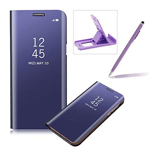 Coque Galaxy A8 2018 Clapet, Herzzer Housse Étui en PU Cuir Luxe Placage Technologie avec Transparente Miroir Design Bumper Dur PC Backcover Protector Fonction Stand pour Galaxy A8 (2018) - Violet