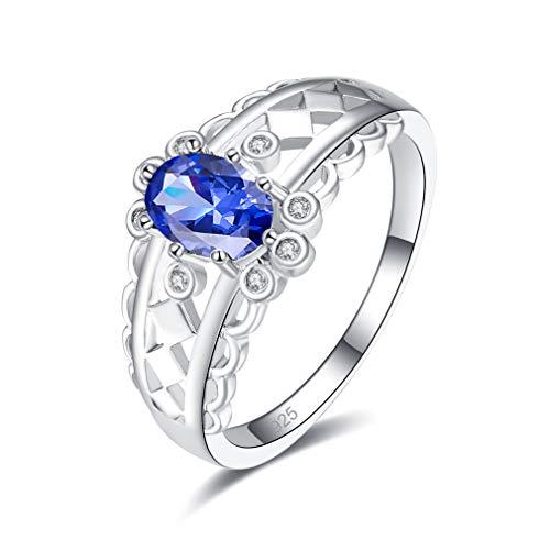 Yazilind 925 Sterling Silber Ehering Ring Ovale Form Blaue Zirkonia Ringe Elegante Frauen Verlobungsschmuck 18.1