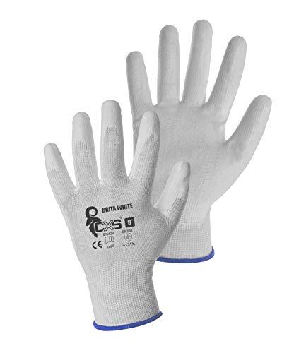CXS Brita Arbeitshandschuhe (12 Paar) - Rutschfeste Montagehandschuhe Nahtlos - Angenehmer, Ideal für Reparaturen, Feinarbeiten, Automobilindustrie, Autoservice, Werkstatt (Weiß, 8)