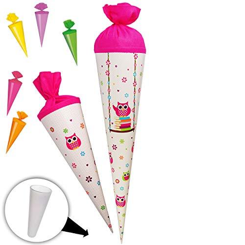 alles-meine.de GmbH stabile Spitze - aus Kunststoff - für Set _ Schultüte + 5 kleine Zuckertüten -  lustige Eulen auf Schaukel - Blumen  - 15 / 35 / 50 / 70 / 85 cm - Zuckertüt..