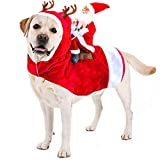 Kyerivs Christmas Pet Costume Running Santa Riding on Dog Pet Cat Outfits Disfraces de Navidad Perro Santa Disfraz para Perros de tamaño Mediano a Grande (L)