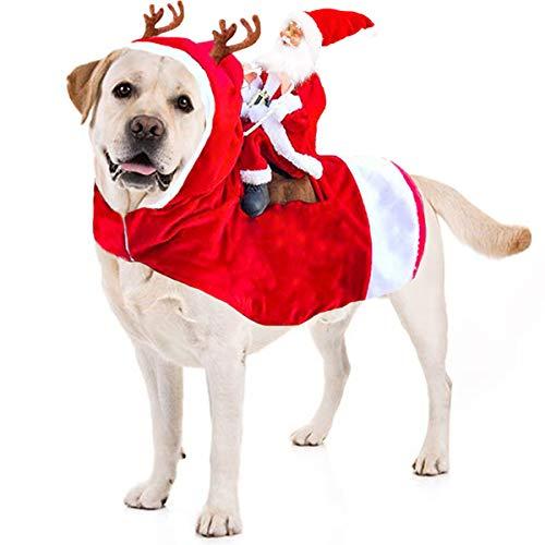 Kyerivs Christmas Pet Costume Running Santa Riding on Dog Pet Cat Outfits Disfraces de Navidad Perro Santa Disfraz para Perros de tamaño Mediano a Grande (XL)