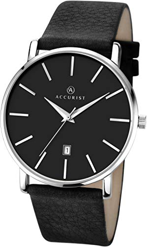 Accurist Herren Analog Quarz Uhr mit Leder Armband 7124