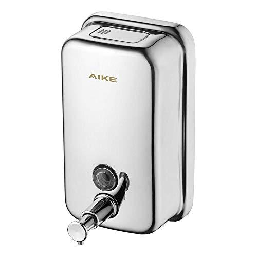 AIKE® AK1001 Dispensador de jabón líquido montado en la Pared para baño y Cocina,Acero Inoxidable Pulido(500ml)