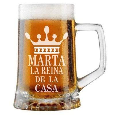 Jarra de Cerveza Personalizada LA REINA DE LA CASA. Regalo Grabado y Personalizado para Hombre o Mujer. Detalle para Celebraciones Cumpleaños Aniversario Regalo Día de la Madre Jubilación.