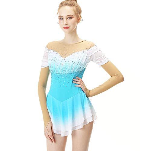 Vestido de patinaje sobre hielo para niñas y mujeres, vestido hecho a mano de patinaje sobre ruedas Competencia de patinaje artístico Traje profesional con cristales Mangas largas, Azul claro Blanco