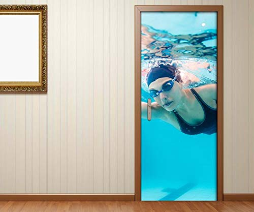 Türaufkleber Sport tauchen Wasser Taucherin Brille Tür Aufkleber Bild Türposter Türfolie Druck selbstklebend 15B847, Türgrösse:80cmx200cm