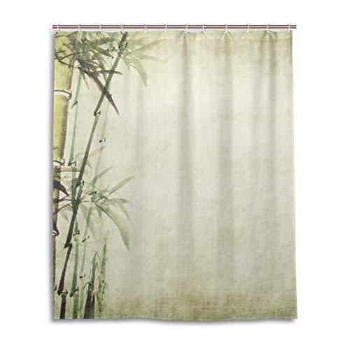 JSTEL Decor Duschvorhang Chinesische Malerei Bambus Muster Druck 100prozent Polyester Stoff Duschvorhang 152,4 x 182,9 cm für Zuhause Badezimmer Deko Duschvorhang