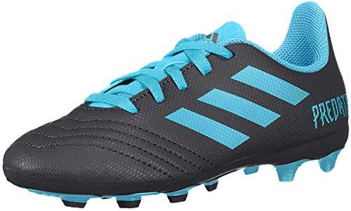 adidas Unisex-Kid's Predator 19.4 Firm Ground Soccer Shoe, Black/Bright Cyan/Solar Yellow, 2.5 M US Little Kid