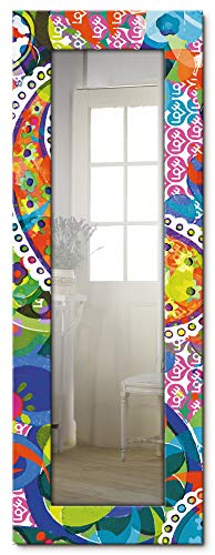 Artland Ganzkörperspiegel Holzrahmen zum Aufhängen Wandspiegel 50x140 cm Design Spiegel Paisley Abstrakt Muster Kunst Kreativ Bunt S6FY
