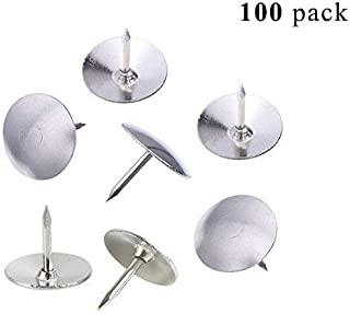 Thumb Tacks Round Head Push Pins Office Drawing Pins for Home,School,Silver Color,Pack of 100 Pieces