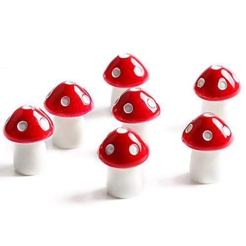 Danmu Art 10pcs Mini PVC Mushrooms Miniature House Fairy Garden Micro Landscape Home Garden Decoration Plant Pots Bonsai Craft Decor (Red)