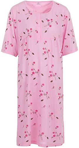 LUCKY Nachthemd Damen Kurzarm Blumen Druck Übergröße 3XL-6XL (rosa, 5XL)