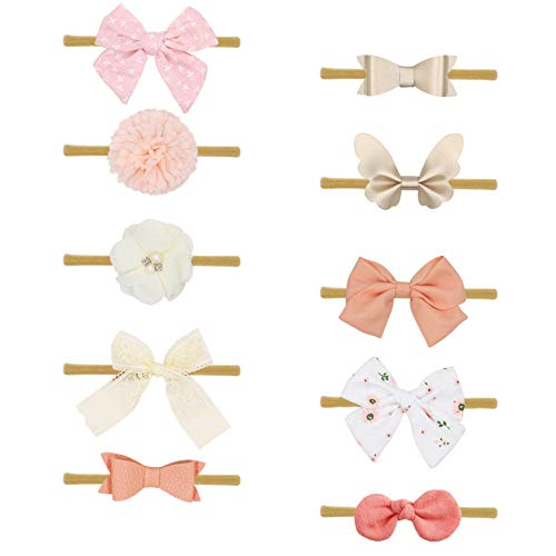 Baby Girl Headbands Fabric Linen Bows Flowers,10 Pack Hair Accessories for Newborn Infant Toddler Gift by FANCY CLOUDS