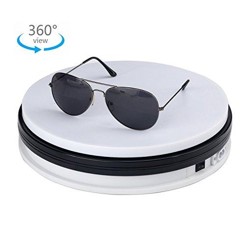 Piattaforma Professionale Girevole di 360 Gradi, Diametro di 25cm Piatto Girevole Rotante Elettrico Bianco Utilizzabile Come Base per Fare Foto, Video e Torte