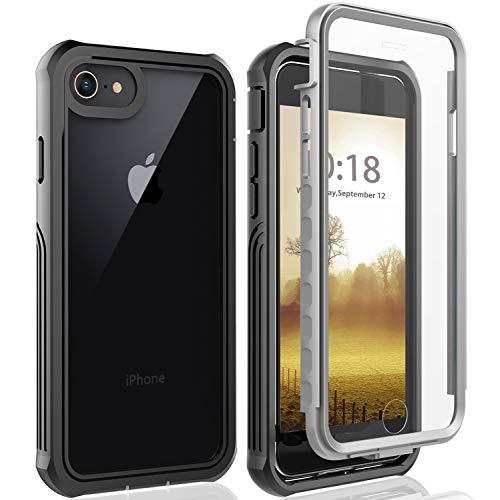 【Eleproof】iPhone SE ケース 第2世代 iPhone8 ケース iPhone7 ケース iPhone6s ケース(4.7インチ)米軍MIL規格取得 フルカバー 360°保護 擦り傷防止 耐衝撃カバー レンズ保護 滑り止め 背面クリア ワイヤレス充電対応