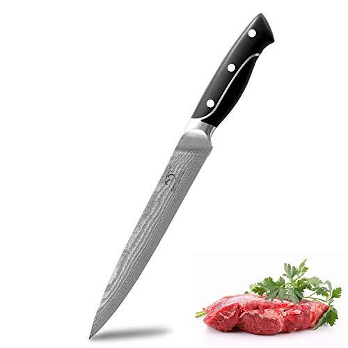Cuchillo Para Trinchar de Acero Inoxidable de Damasco, Cuchillo Para Sashimi con Hoja de Afeitar, Cuchillo Para Sushi Antiadherente de 8 Pulgadas, Cuchillo Para Cortar de Cocina Profesional