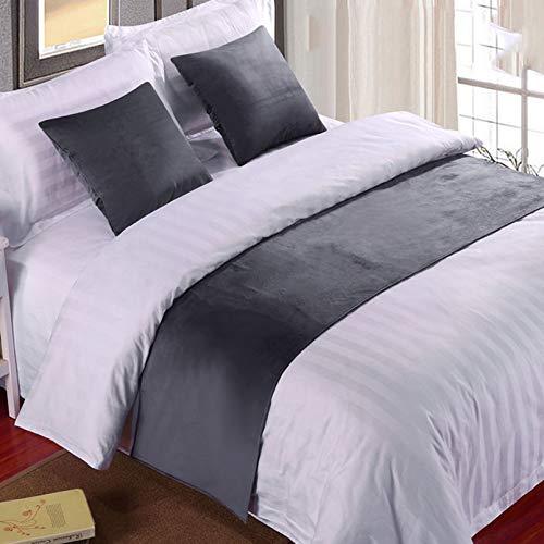 BAMCQ Bettläufer Hotel Hotel bettwäsche hochwertigen einfarbigen Bett schwänze Bett Flagge Bett Schwanz pad bettdecke Bett Dekoration Streifen 852# grau (samt) 50 cm x 260 cm (2 mt Bett)