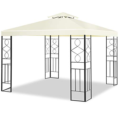 Tangkula Patio Gazebo 10 ft x 10 ft, 2 Tier Soft Top Canopy and Steel Frame, Provide 100 Square Feet Shade for Outdoor Patio Backyard and Garden, Outdoor Gazebo Tent Beige
