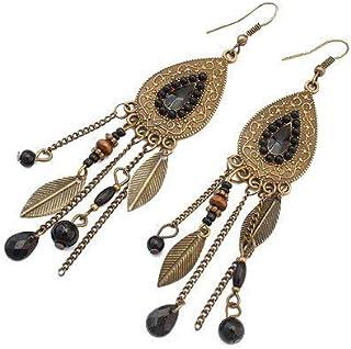 LUFA Donne Ragazze foglie ovali in lega Gancio Orecchini in nappe Beads orecchini lunghi