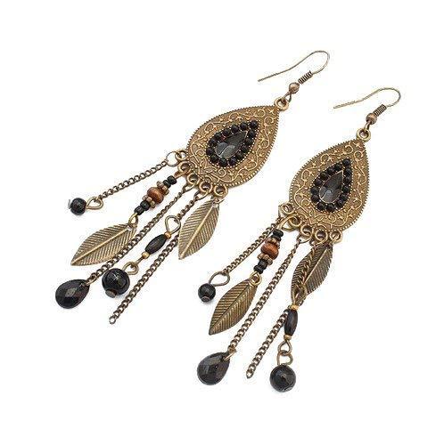 LUFA Women Girls Oval Leaves Alloy Hook Ear Studs Tassels Beads Long Earrings