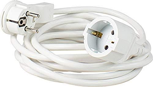 Schwabe Verlängerungsleitung mit Flachstecker - für den Innenbereich - extrem flach - Verlängerungskabel 5 m - Schutzkontaktstecker & Schutzkontaktkupplung - 230V, 16A - IP20 - weiß, as 50521