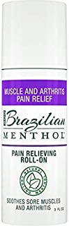 Brazilian Menthol Pain Relieving Roll-On, Cooling Pain Relief, Soothes Sore Muscles and Arthritis, Non-Greasy, Natural Menthol and Natural Epsom Salts, No Capsaicin, No Lidocaine