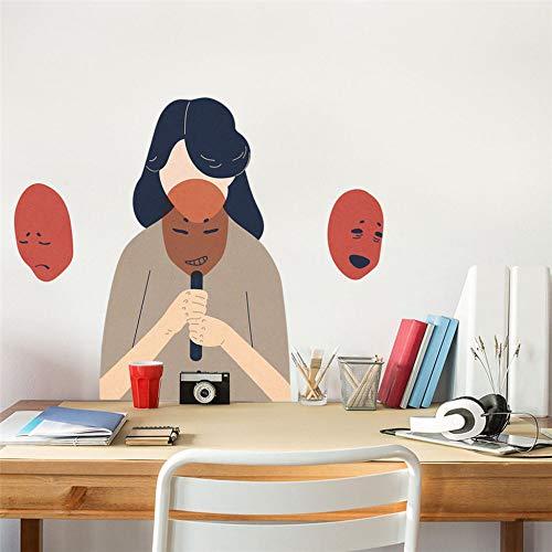 TFOOD Sticker Mural,Joie, Colère, Chagrin Et Joie Fille Masque Auto-Adhésif PVC Mural Adapté À La Chambre Maison Salon Chambre d'enfants Bricolage Décoration De La Maison