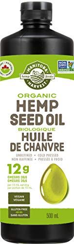 Manitoba Harvest Organic Hemp Seed Oil, 12g of Omegas 3&6 Per Serving, Non-GMO, Vegan, Gluten-Free 500ml