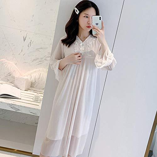 ASADVE Mujer camisón Pijamas Rosa Pijamas Manga Larga Albornoz Vestido Pijamas Servicio a Domicilio-Rosado_Talla única