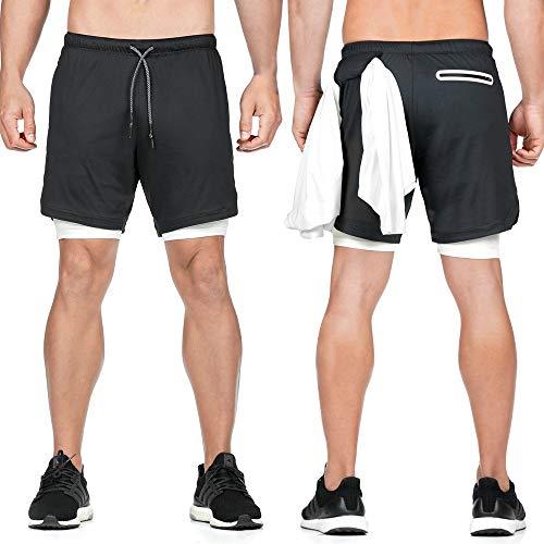 CLOUSPO Herren 2 in 1 Trainingsshorts mit Tasche Kurze Sporthose Sommer Shorts für Joggen, Fitness, Workout (EU XL/CN 3XL, Schwarz)