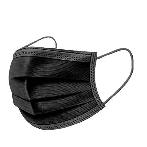 SHINEHUA 50pcs Erwachsene Einweg Staubschutz, Schwarz Gesichtsbedeckung 3 Schichten Gesichtsdeckel Set