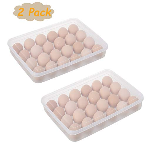 2PCS Plastic Refrigerator Egg Trays,2 x 24 Deviled Egg Tray Carrier with Lid,Clear Egg Holder Storage Container