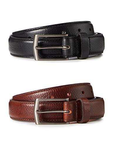 Marca Amazon - find. Cinturón de Cuero Hombre, Pack de 2, Multicolor (negro y marrón)., M, Label: M