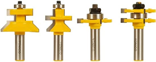 Yonico 15423 Flooring 4 Bit Tongue and Groove Router Bit Set 1/2-Inch Shank