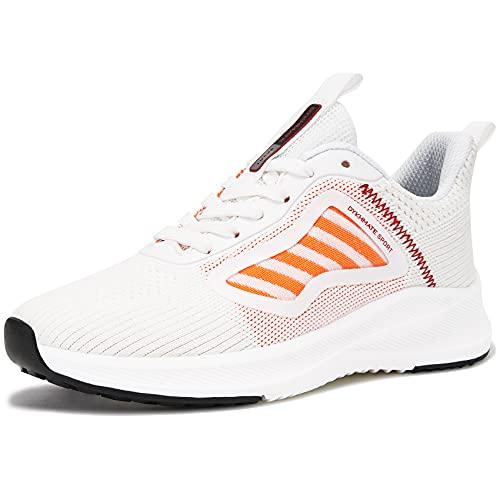 URDAR Zapatillas De Deporte Mujer Running Sneakers Antishock Zapatos de Deportivas CordonesTranspirables Ligeras Zapatillas Casual(Rojo,40 EU)