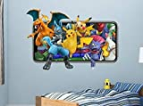 BAOWANG Pegatinas de pared Calcomanías de pared de Pokemon pegatinas de videojuegos móviles mural decorativo vinilo 3d habitación de niños