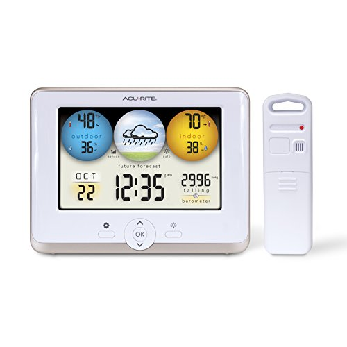 AcuRite 01123M Weather Station with Temperature, Humidity and Weather Forecaster White Display, 8 inch round
