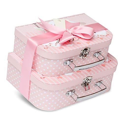 Cajas de regalo para bebés recién nacidos, 2 cajas rosas con cinta de satén y etiqueta de mensaje para bebé recién nacido