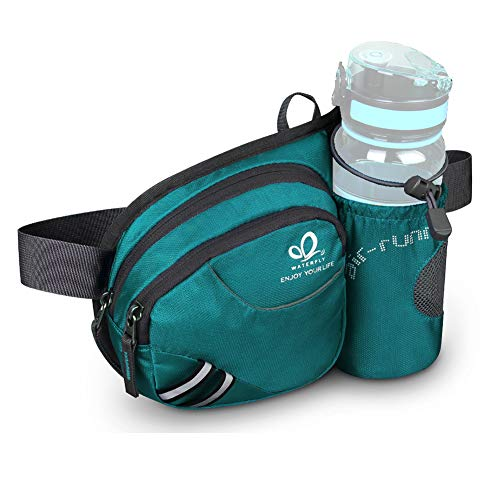 Waterfly Riñonera Running Deportiva Hombre Mujer con Soporte para Botellas Bolsa de Cintura para Correr Senderismo (Turquesa)