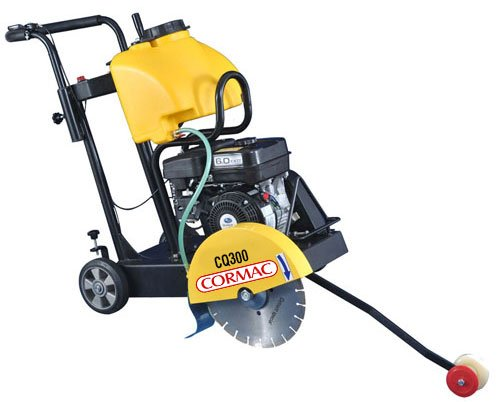 """CORMAC CQ300 walk behind concrete floor saw max 14"""" blade gasoline engine 6.5 Hp Kapa and water tank INCLUDES 1 x 14"""" concrete blade"""