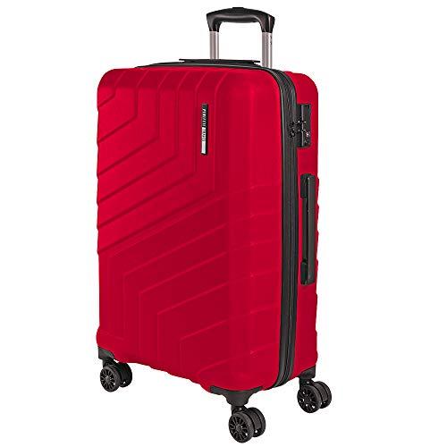 Maleta Trolley de Bodega Rigida - Equipaje de Viaje Ligero ABS con Mango Telescópico de Aluminio - Cerradura TSA y 4 Ruedas Dobles Multidireccionales - 65x44.5x27 cm - Perletti Travel (Rojo, M)