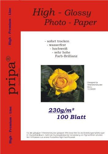 pripa 100 Blatt Fotopapier A4, 230g /qm, high –Glossy -sofort trocken –wasserfest - hochweiß-sehr hohe Farbbrillianz, Fuer Inkjet-Tinten- Drucker