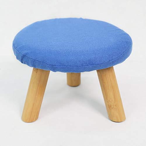 DJ kruk van stof voor schoenenkast, rond, creatief, klein, van bamboehout, afneembare overtrek (blauw) Blauw