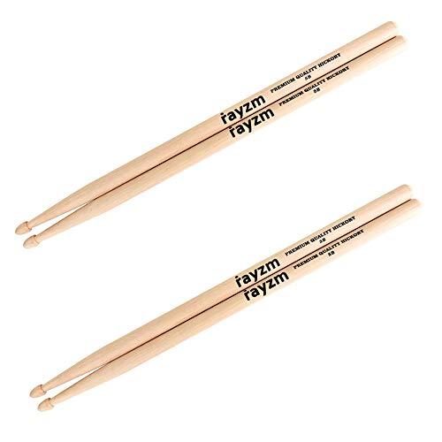 Rayzm Drum Sticks 5B, Massives Amerikanisches Hickory Holz mit Holzspitze (2 Paare)