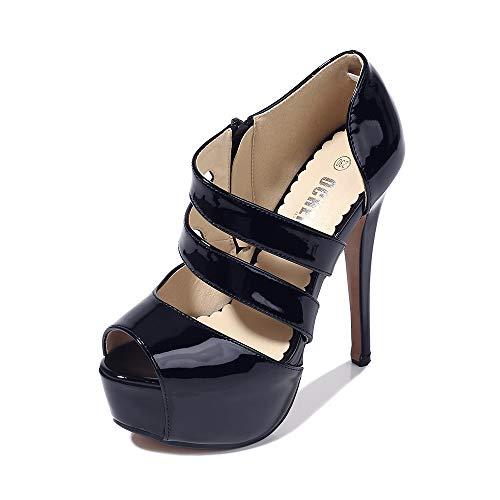 Phorecys - Sandalias de tacón alto para mujer con plataforma y puntera abierta, para fiesta, formal, con cremallera lateral, tacón, color Negro, talla 38.5 EU