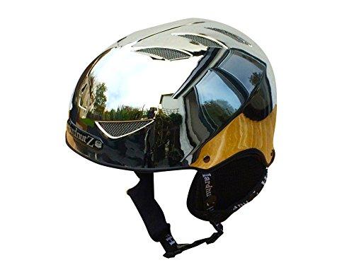 Hardnutz casco da sci e snowboard–argento cromato, per adulti e bambini, certificato 1077:2007