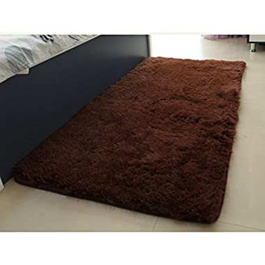 ACTCUT Ultra Soft 4.5 Cm Thick Indoor Morden Shaggy Area Rugs Pads, New Arrival Fashion Color for Home Decorate. Size: 2.5 Feet X 5 Feet (Coffee)