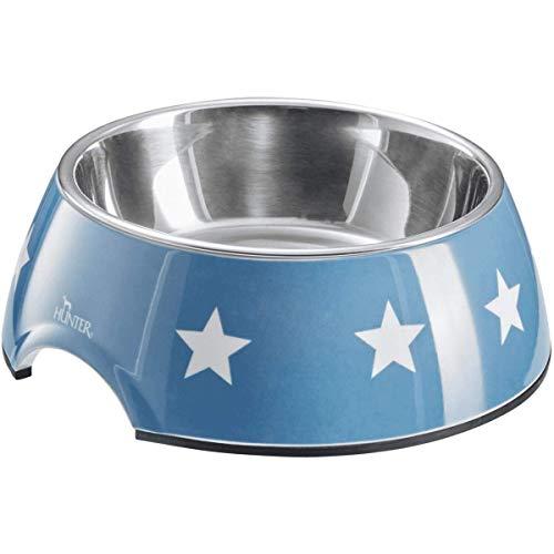 HUNTER Aarhus Melamin-Napf, Futternapf, Trinknapf, für Hunde und Katzen, mit Edelstahlnapf, 350 ml, blau/weiß